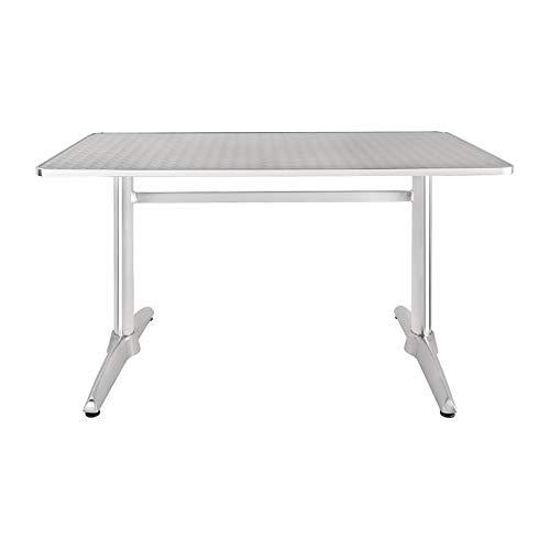 Bolero u432rechteckig Säulentisch, Edelstahl Top und Aluminium Rand, 1200mm x 600mm, silber