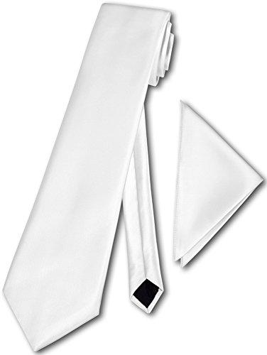Herren Krawatte klassisch mit Einstecktuch Klassik Anzug Satinkrawatte - 30 Farben (Weiss) - Italien Seide Krawatte