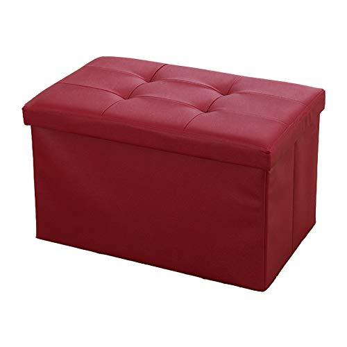 GOYOO Faltbar Sitzbank Sitzhocker Aufbewahrungsbox mit Stauraum Aufbewahrungs-Ottomane belastbar bis 100 kg Kunstleder