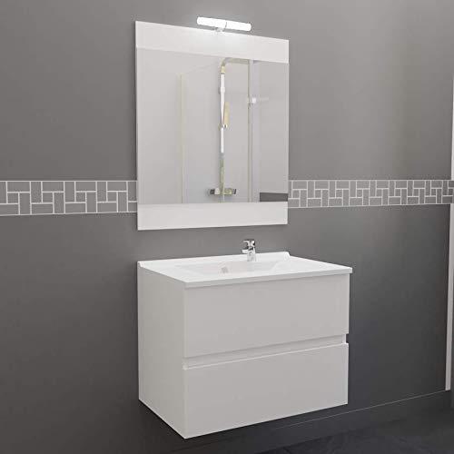 Meuble Salle de Bain Simple Vasque ROSALY 70 - Blanc Brillant