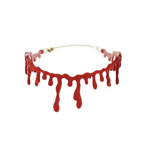 MYJ Halloween blutig Blutige Schnitt Blutnarbe Halskette/rot Simulation Bauch bluten Kragen,rot,A