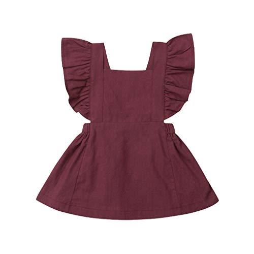 JUTOO Sommer Kleinkind neugeborenes Baby Kinder Jungen mädchen rüschen einfarbig Strampler Bodysuit Overall Kleidung (Wein,110)