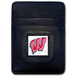 NCAA Wisconsin Badgers Leather Money Clip/Cardholder