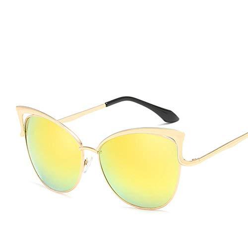 Hjyi Persönlichkeits-Pilot Shade Mirror Katze Sonnenbrillen für Damen Polarisierte Aluminiumlegierung Rahmen Sonnenbrille Mode Fahren Sonnenbrillen UV400