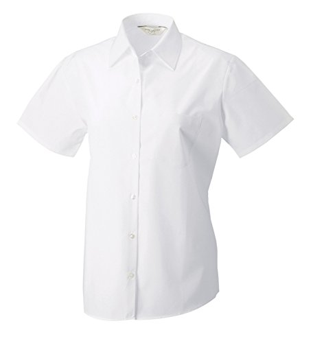Z937F Kurzarm Popeline-Bluse, Farbe:White;Größen:XXL
