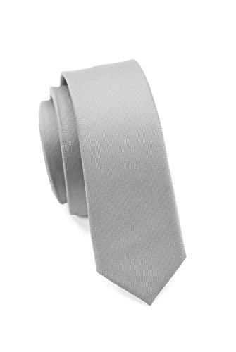 PARSLEY Extra schmale Krawatte, 24 verschiedene Farben, reine Seide, 4 cm, matt, Handarbeit, Skinny / Slim Tie, Business & Alltag (Grau)