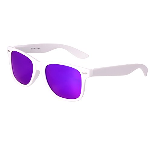 haute qualité Nerd Lunettes De Soleil Gomme im Wayfarer Style Rétro Vintage Unisex Lunettes avec Charnière à ressort - 101 différentes couleurs/Modèles au choix Blanc/violet