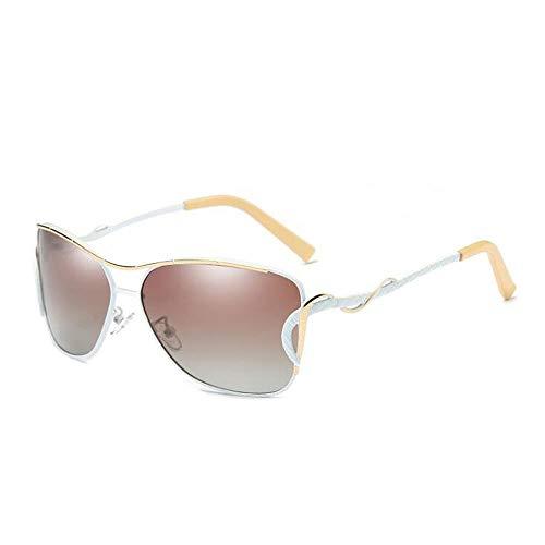 ANLW Polarisierte Sonnenbrille für Frauen Brillen Metallrahmen Sonnenbrille Shades 100% UV400 Schutz,Weiß