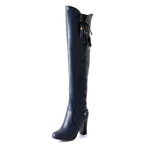 VogueZone009 Donna Tacco Alto Puro Punta Tonda Allacciare Stivali con Nodo Azzurro