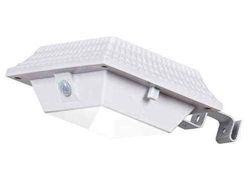 WFTD Luz De Canal Solar Luz De Pared PIR Sensor De Movimiento Resistente Al Agua De Seguridad Inalámbrica con Soporte 12 LED Adecuado para Jardín Al Aire Libre, Valla, Casa De Perro,White,Square