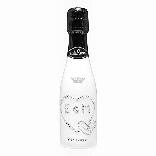 Geschenk Gastgeschenk Hochzeit personalisiert mit Swarovski Kristallen Sekt Flasche 0,2l Motiv E & M (M Und Personalisiert M)