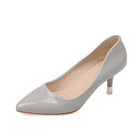 AllhqFashion Women's Pull On Kitten Heels Patent Leather Solid Pointed Closed Toe Pumps-Shoes, Gray,