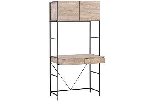 Beliani Moderner Schreibtisch mit Schublade und Schrank Heller Holzfarbton Harrow