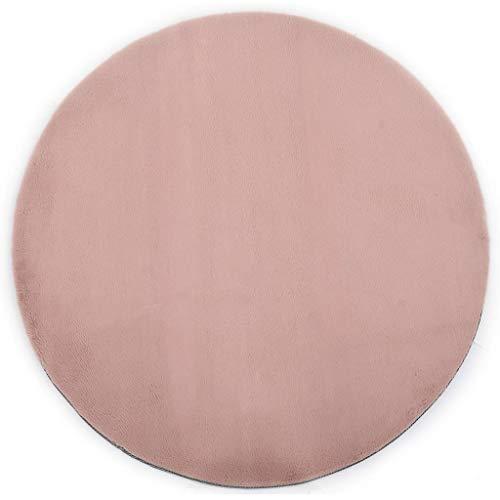 Retrome tappeto de pelliccia di coniglio sintetica tondo,tappeto lunga pelliccia con super soffice,imitazione effetto pelliccia,decorativa tappetini per in soggiorno o camera,rosa antico 160 cm