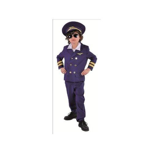 Pilotenkostüm für Kinder in dunkelblau Anzug Gr. 164