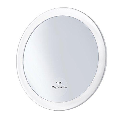Frcolor 10X Vergrößerungsspiegel mit 3 Saugnäpfen, Kosmetik Make-Up Spiegel Folding Taschenspiegel 5,9 Zoll (Weiß)