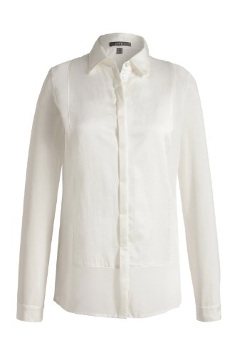 ESPRIT Collection Blouse Col mao Manches longues Femme Ecru - Elfenbein (off white 103)