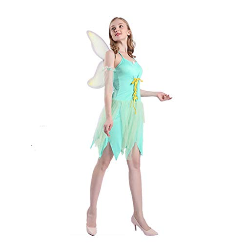 Rave Kostüm Fairy - HYMZP Kostüm Damen, Halloween Adult Flower Fairy Kostüm Cosplay Fantastic Elf Rock Mit Flügeln, Rave Party Elf Show Kostüm