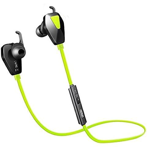 AOSO G13 Auricular inalámbrico Bluetooth CSR-V4.1 Auriculares deportivos con CVC 6.0 Cancelación de ruido IPX4 Audífonos con auriculares auriculares In-ear 10h Tiempo de reproducción para iPhone 7 más Samsung y teléfonos Android (Verde)