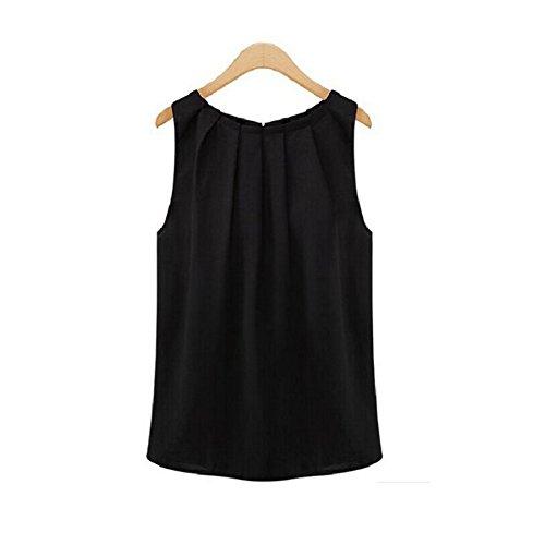 Damen Sommer Chiffonbluse Ärmelloses Shirt T-Shirt Chiffon bluse ohne Ärmel Blusentop,Schwarz