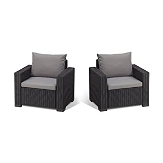 Allibert by Keter California Armchair Duo Rattan Outdoor Garden Furniture set - Graphite with Grey Cushions