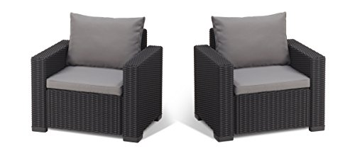Allibert by Keter California Armchair Duo Rattan Outdoor Garden Furniture set – Graphite with Grey Cushions