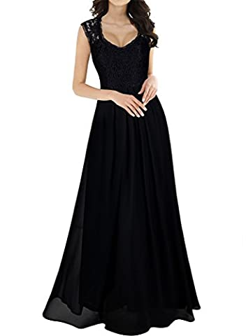 MIUSOL Women's Vintage Elegant Lace Floral Chiffon Cap Sleeve Prom Ball Gown Plunge Neckline Long Maxi Evening Party Dresses for Women