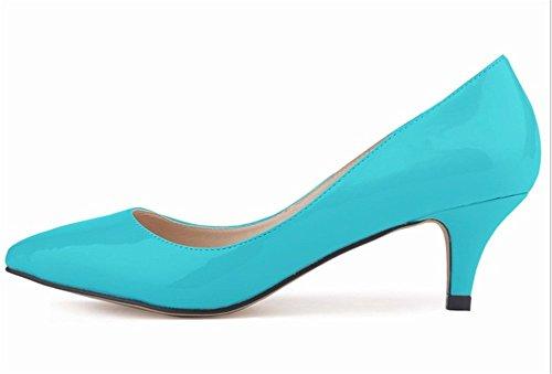 Stilettos Senhoras Sapatos Elegantes Bicudos Sapatos Bombas Alto Salto Noiva De Wealsex Azuis Látex BIZSwdq
