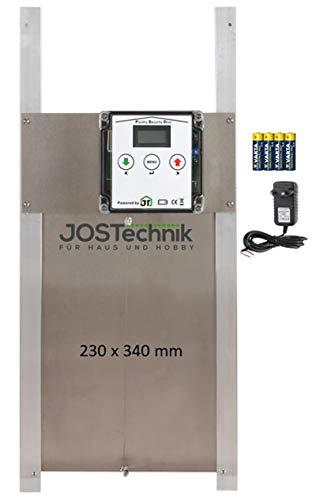 JOSTechnik Poultry Security Door PSD-RH als Rahmengerät mit selbstverriegelnder Hühnerklappe 230 x 340 mm und echter Nothaltfunktion für Batteriebetrieb oder Netzteil, mit Zeitschaltuhr