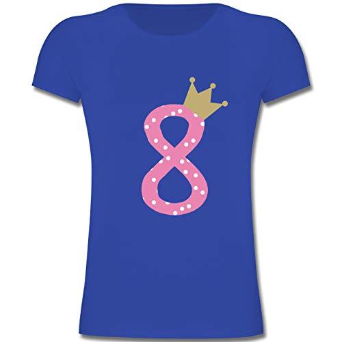 Geburtstag Kind - 8. Geburtstag Krone Mädchen Achter - 128 (7-8 Jahre) - Royalblau - F131K - Mädchen Kinder T-Shirt (Für Altes Acht Jahre Mädchen Geschenke)