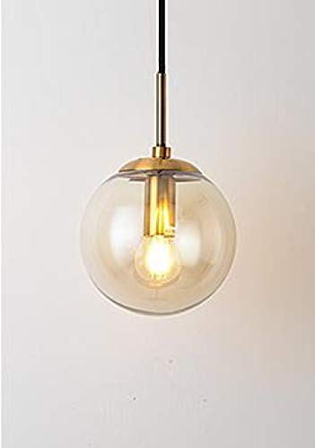 mddiksa LED Wandlampe Stil Glaskugel Wandlampe einfaches Wohnzimmer Nacht Flur Treppe Dekoration Beleuchtung E14-Cognac Brandy Lampenschirm_20 cm schwarz