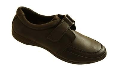 Ladies Dr Keller Black Leather Velcro Flat Shoes Uk Size 7