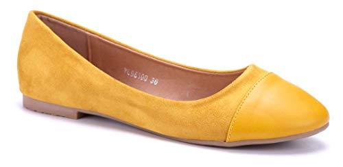 Schuhtempel24 Damen Schuhe Klassische Ballerinas gelb flach -
