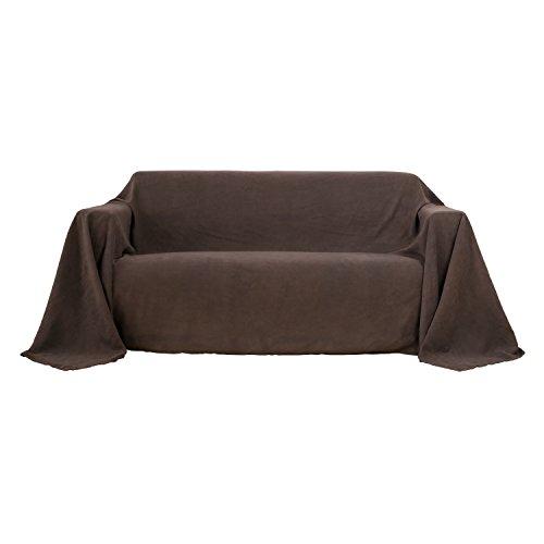 Deconovo Bettüberwurf Sofa Überwurf Sesselbezug Tagesdecke Wildleder Optik 210x280 cm Dunkelbraun (Dunkelbraun Sessel)