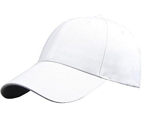 IKuaFly Casquette Baseball Snapback Hip Pop Couleur Unie Ajustable 6 Panneaux Taille Unique Golf Hat Motorcycle Trucker Cap - Homme Femme (blanc)