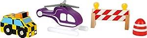Small Foot World 10894Madera, helicóptero, Vehículo y Bloqueo, Compatible con Todos los Madera los Ferrocarriles, 100% Certificado FSC, Accesorios para Juego de Aeropuerto, a Partir de 3años