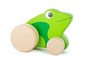 small foot company-Rana Small Foot Que se Empuja para niños, 100% certificada FSC, Hecha de Madera Resistente, promueve la imaginación y la Creatividad. Juguetes, Color Verde by Legler 11049