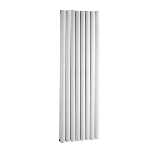 White 8 Double Panel Vertical Column Radiator with Angled Valves