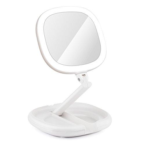 Beautifive Espejo Maquillaje Con Luz, Espejo de Vanidad Compacto Plegable...