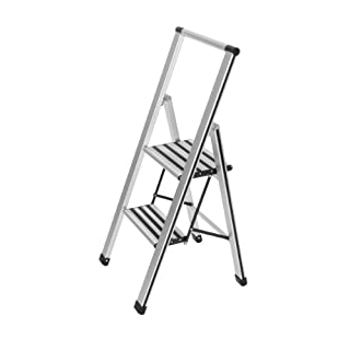 Wenko 601011100 Alu-Design Klapptritt-/Haushaltsleiter, 2-stufig - Aluminium, 44 x 101 x 5,5 cm, silber matt