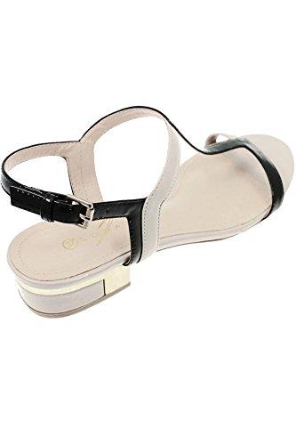 ZAFFIRO Boutique jle031 Betsy donna dorato metallico BORDO TACCO VERNICIATA CONTRASTO Sandali con cinturino COLOR CARNE / Nero
