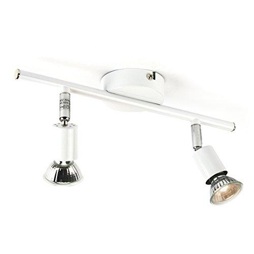 Spot Plafonnier ou Applique Métal blanc à 2 lumières Incluant 2 ampoules GU10 (interchangeables) - Rotatif et inclinable dans toutes les directions - Installation facile