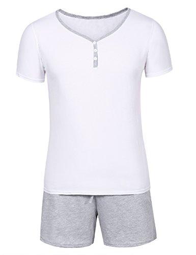 Aibrou Schlafanzug Pyjama Kurz Sommer Baumwolle Nachtwäsche Kurzarm Oberteil Kurze Shorty Hausanzug Sleepwear Weiß M