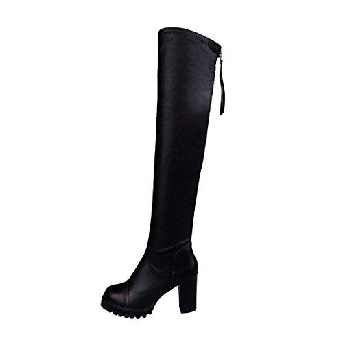 Bottes Femme, Amlaiworld Cuir de mode Cuissardes Femmes orteil élastique Stretch bottes talon épais