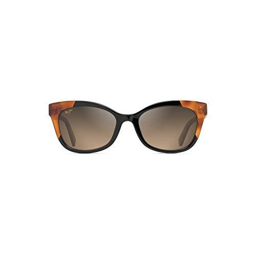 Maui Jim HS759 59B Black / Bourbon Tortoise Ilima Cats Eyes Sunglasses Polarised Lens Category 3 Lens Mirrored Size 53mm