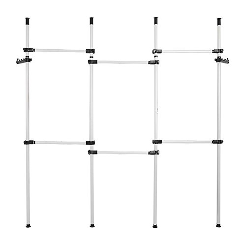 Kleideraufbewahrungssystem, Teleskop Garderoben System für Kleidung 4 verstellbare Stangen Vertikale 6 horizontale Stangen aus Edelstahl mit 2 Haken, Kapazität pro Riegel horizontale 60 kg