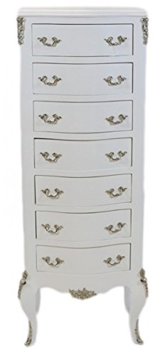 Casa Padrino Barock Kommode Weiß mit 7 Schubladen 120 x 70 x 35 cm - Antik Stil