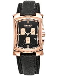 Roberto Cavalli Men's Tomahawk Chronograph Watch R7251900125 with Quartz Movement, Leather Bracelet and Black Dial