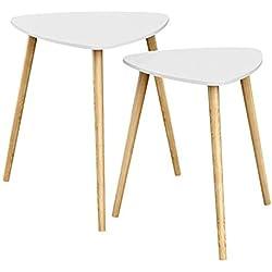 SONGMICS Tables gigognes, Lot de 2, Tables Basses superposables, Table d'appoint Triangulaire, Style scandinave, Pieds en Bois Massif, Blanc et Naturel LET17WN
