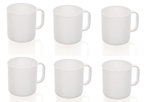 6 weiße Camping- Kaffeebecher / Kaffeetassen / Becher mit Henkelgriff 0,3 L., aus Polyprobylen...